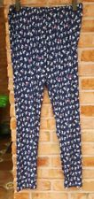 00 LBISSE Blue Cats Pattern Stretch Knit Soft Pants size L