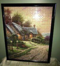 "Thomas Kinkade Painter of Light Framed Landscape/Cottage Puzzle Picture 21"" x17"""