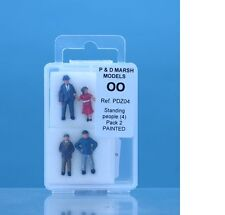 P & D Marsh PDZ04 Standing People (4)  'OO' Gauge Painted White Metal Kit New
