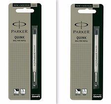 2 x Parker Quink Flow BallPoint Ball point Pen Refills BallPen Black Fine New