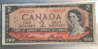 1954 Ottawa $2 Note Bank Of Canada - RARE