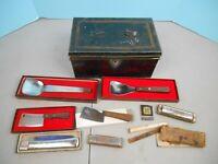 Vintage Lot of Advertising Utensils in Metal Box Junk Drawer