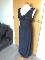 Ladies BM Dress Size 18 Black Beaded Stretch Long Maxi Party Evening Cruise