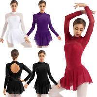 Damen Rollschuhkleid Langarm Eiskunstlauf Kleid mit Strasssteinen Tanzkleider