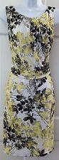 NWT $90 Ann Taylor White Yellow Black Gray Floral Print Dress SZ M Stretchy