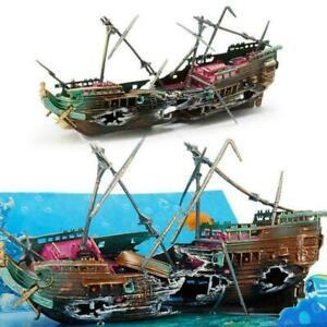 Large Broken Boat Shape Fish Tank Separated Sunk Shipwreck Aquarium-D S4R0 A2B4