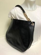 Michael Kors Black Leather Ruched Purse Hobo Style Gold Chain Link Handle Design