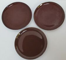 3 Vintage Russel Wright Steubenville Bean Brown Lunch Plates, American Modern
