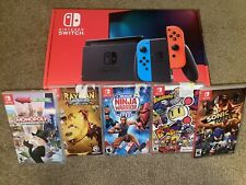 Brand New Nintendo switch with Neon Blue and Neon Red Joy‑Con-NEVER OPEN &Games