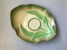 VINTAGE MUSTARDSEED MOONSHINE ORIGINAL LEAVE PLATE DISH GREEN CERAMIC POTTERY