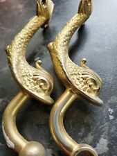 Vintage Gold Metal Fish Toilet Roll Holder Koi Mythical Hollywood Chic