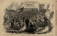 Memphis War on Mississippi Truce New Orleans 1862 Civil War Leslie's old print
