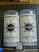 (2) Humble All Natural Deodorant Palo Santo Frankincense Nothing Bad 2.5 oz Each
