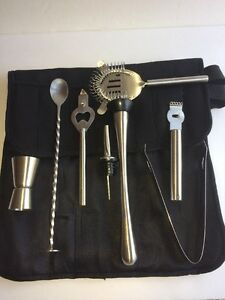 Bartenders Kit  8 Piece With Case Stainless Steel Free Ship