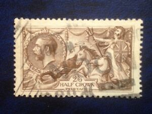 Stamps Great Britain Sc179 (A91) 2sh 6d Seahorses  rare horizontal lines used