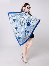 "UScarmen Women's 100% Pure Silk Square Scarf 40"" x 40"" 03003 BLUE"