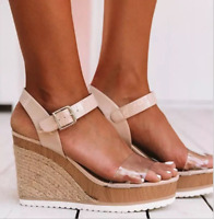 Women's Ankle Strap Wedge Sandals Platform High Heels Roma Buckle Open Toe Shoes