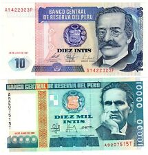 LOT SET SERIE 2 Billets Perou PERU 10 & 10000  INTIS 1987 - 1988  NEUF UNC