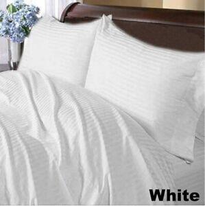 1000 TC Egyptian Cotton Cozy Bedding Collection US Sizes White Striped