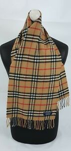 BURBERRY SCARF 100% LAMBSWOOL SHORT MADE IN ENGLAND BEIGE
