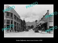 OLD LARGE HISTORIC PHOTO OF YREKA CALIFORNIA THE MAIN STREET & STORES c1930 1