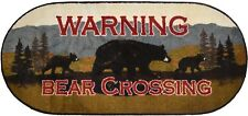 """20X44 """"WARNING Bear Crossing"""" Cabin Lodge Oval Kitchen Rug Mat Washable Accent"""