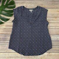 Joie Womens Cap Sleeve Silk Top Size XS Navy Blue Geometric Print Popover Blouse