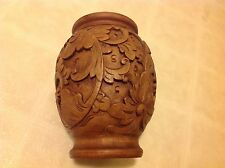 """Balinese Traditional Lotus Wooden Vase Carved Wood Hand Carved From Bali 8 1/4"""""""