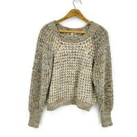 Moth Anthropologie Pullover Chunky Knit Sweater Womens XS Beige Wool Mohair Boxy