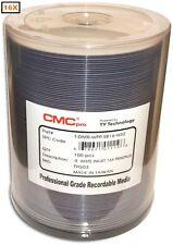 100-Pak CMC PRO (TY Tech) PrintPlus Semi-Gloss Waterproof White Inkjet Hub DVD-R