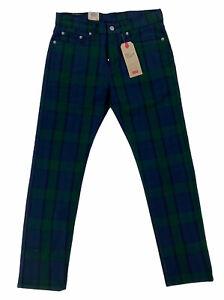 NEW Levi's 502 Regular Taper Plaid Blackwatch Green Stretch Men's Pants Sz 29x30