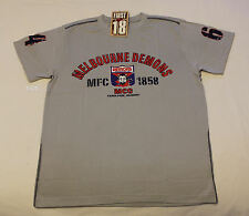 Melbourne Demons AFL First 18 Mens Grey Printed Short Sleeve T Shirt Size L New