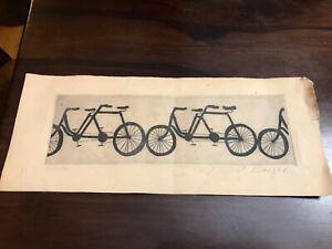 Rare! VINTAGE PETER BARGER ORIGINAL ETCHING bicycles # 77/150 Signed
