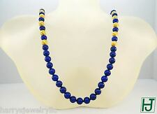"Brand New 24"" Necklace 8mm Lapis Beads 14k Yellow Gold, Chinese Happiness clasp"