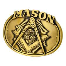 Freemason Belt Buckle / Masonic Buckle - Gold Tone Brushed Masonic Rounded