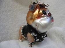 Bulldog Puppy Dog Glass/Resin Ornament - Black Jacket w Rhinestone Accent