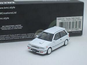 Toyota Starlet Turbo-S EP71 Hatchback 1988 white 1/64 BM Creations Car + Wheels