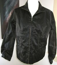 Chico's Size 2 (12/14) Black Full Zip Ruched Sleeve Jacket Sateen Polish
