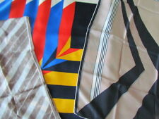 Silk Scarf Lot Geometric Abstract Vera Tiziano Vintage Italy Brown Beige Blue