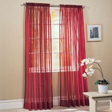 Solid Burgundy Voile Sheer Window Curtain/Drape/Panel