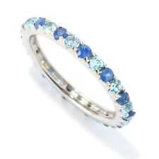 Sterling Silver 1.18ctw Blue Sapphire Band Ring, Size 6