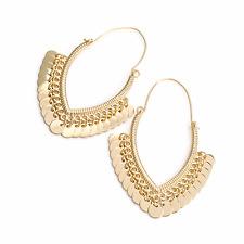 LONG EARRINGS DROP DANGLING gold disc chandalier hoop earrings abstract 30349