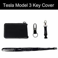 Tesla Model 3 Key Fob Case Key Cover with Keychain and Lanyard -Black