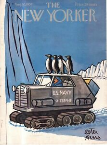 1957 New Yorker Cover only August 10 - U.S. Navy Antarctic  Penguin Patrol -Arno