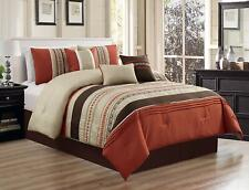 Cal King Size Luxury Embroidery Bed in Bag Microfiber Comforter Set Spice7Piece