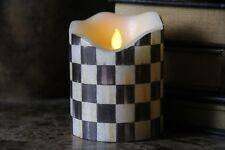 """Flameless Vanilla LED Pillar Candle 4""""x 5"""" w/Mackenzie Childs Courtly Check"""