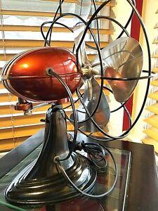 Vintage 1950's Westinghouse Electric Fan Art Deco, Dark Rootbeer , Refurbished