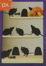 SET DE DECORATION HALLOWEEN 12 RATS  ACCESSOIRE POUR PORTE, MUR, FENETRE NEUF