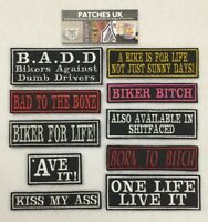Embroidered Words Slogan Biker Motorcycle Scooter Patches Iron On Sew On Velcro
