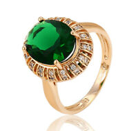 Deluxe Cocktail Ring mit Swarovski Kristallen Smaragd 18K Gold vergoldet Gr.54